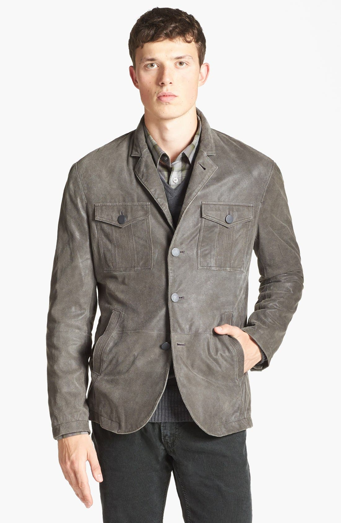 Alternate Image 1 Selected - John Varvatos Star USA Military Leather Jacket