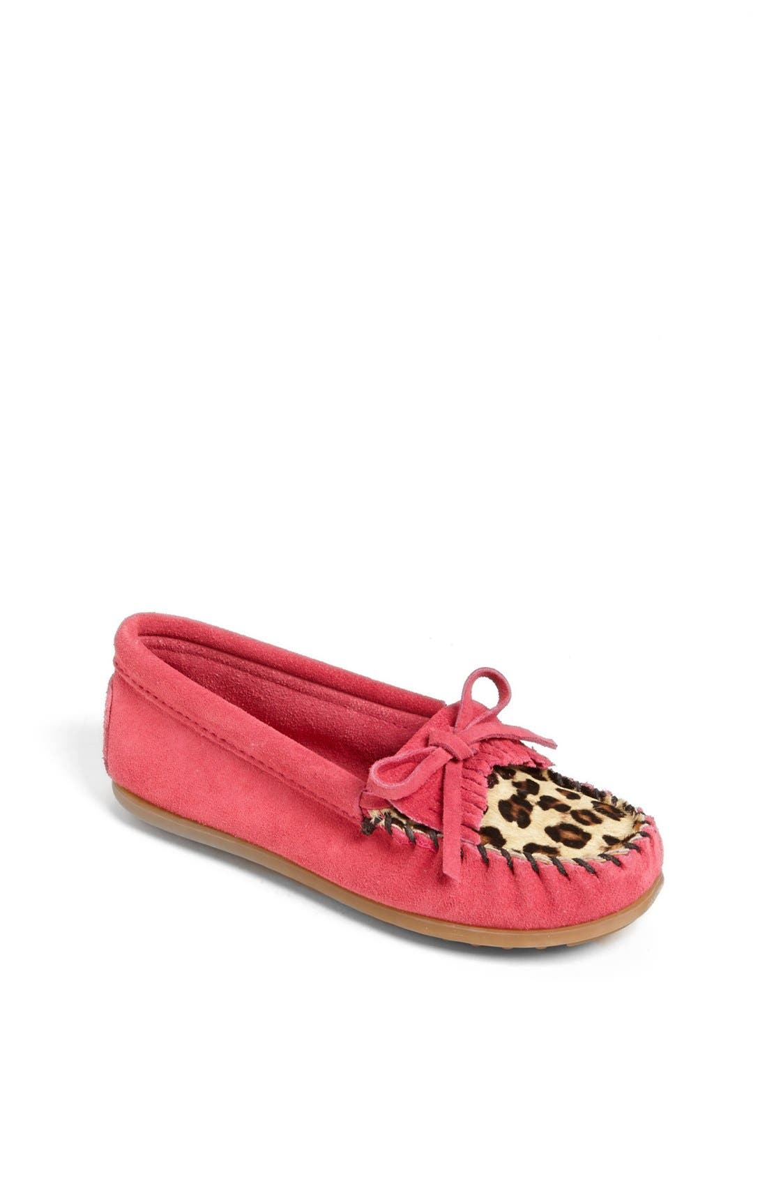 Main Image - Minnetonka 'Kilty - Leopard' Moccasin (Walker, Toddler, Little Kid & Big Kid)