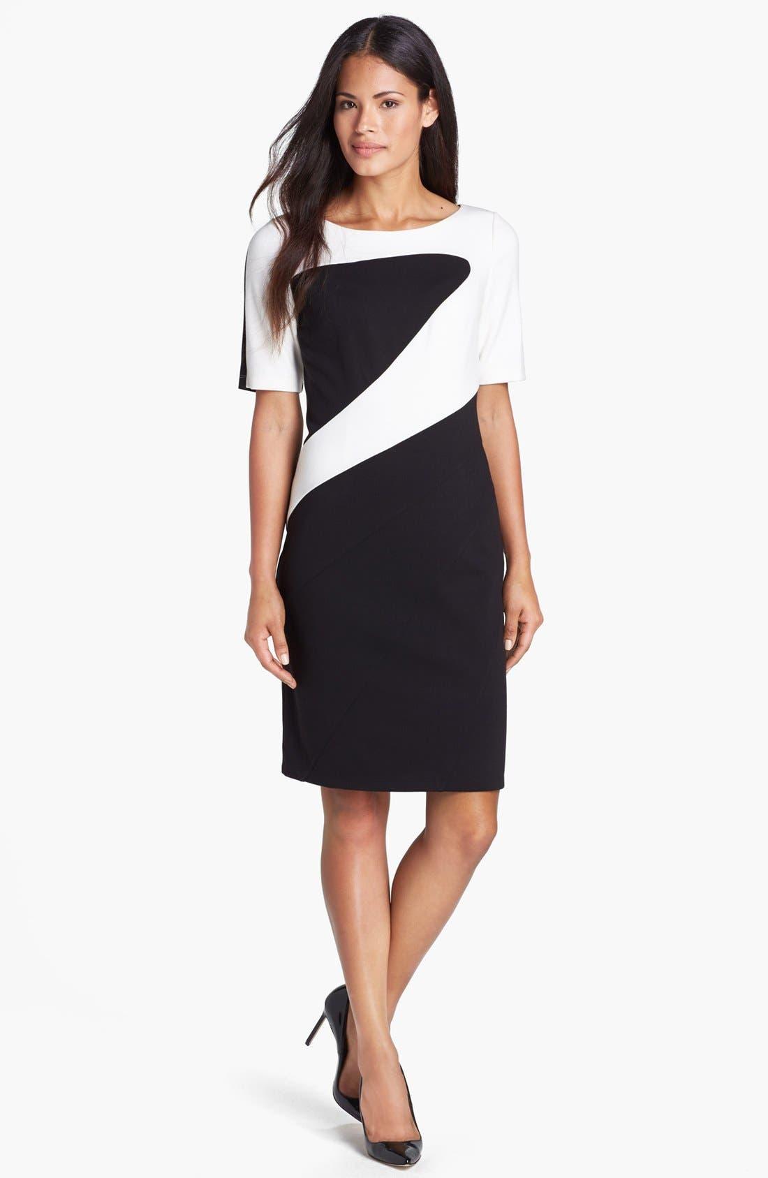 Alternate Image 2  - Ellen Tracy Colorblock Ponte Knit Sheath Dress