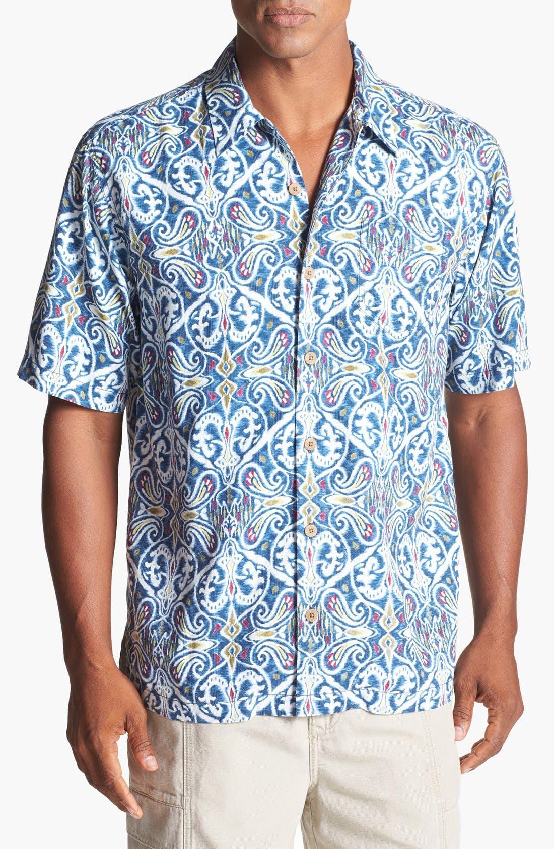 Main Image - Tommy Bahama 'Aziza' Ikat Silk Campshirt