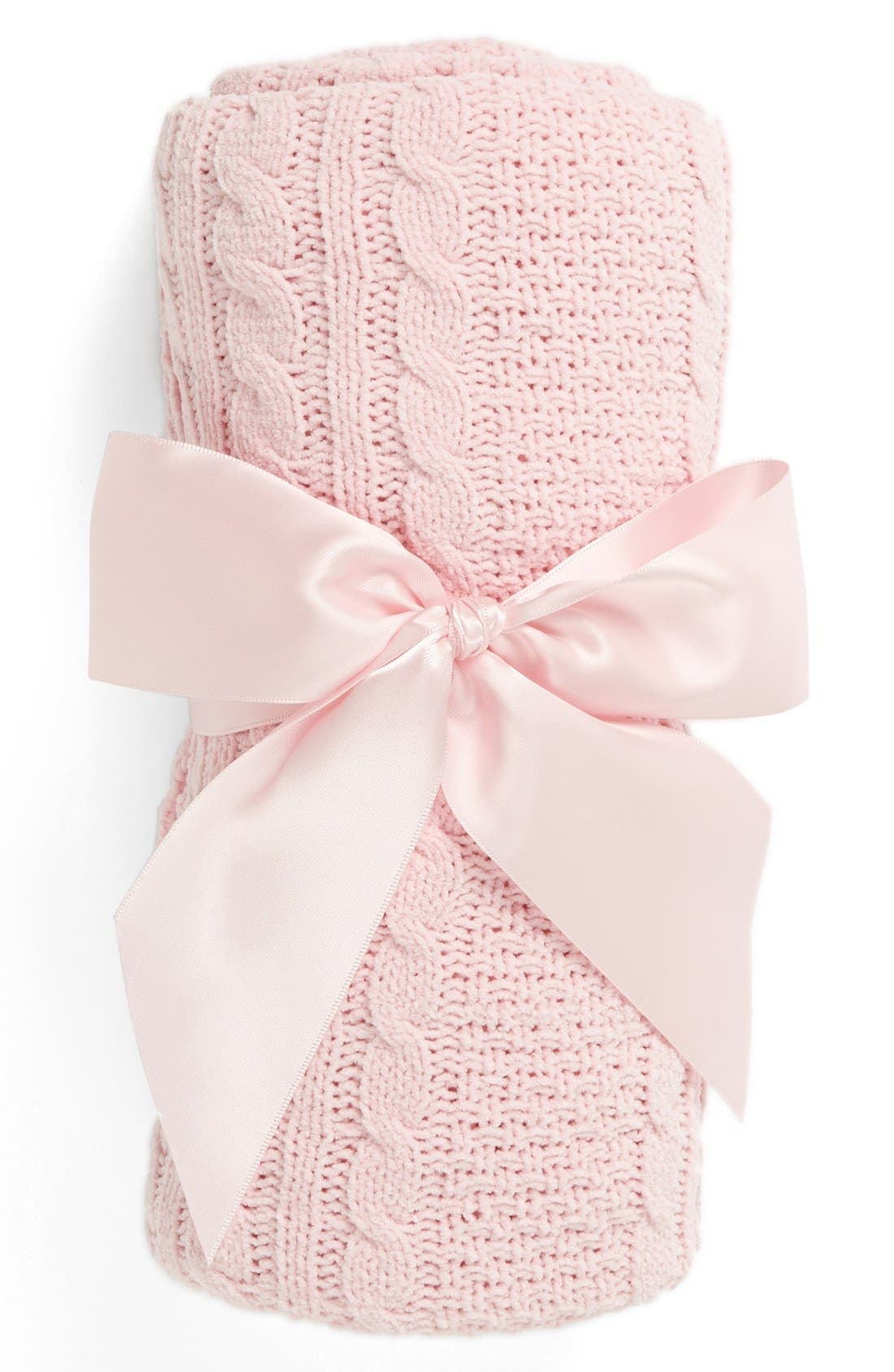 Cable Knit Blanket,                             Main thumbnail 1, color,                             Pink Baby