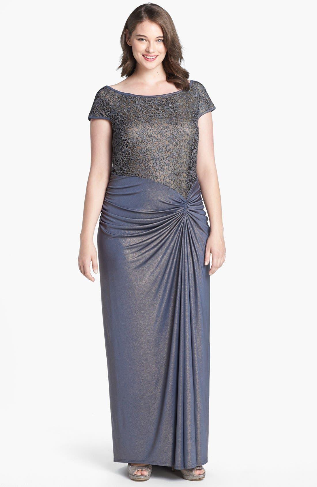 Main Image - Tadashi Shoji Metallic Lace & Jersey Gown (Plus Size)