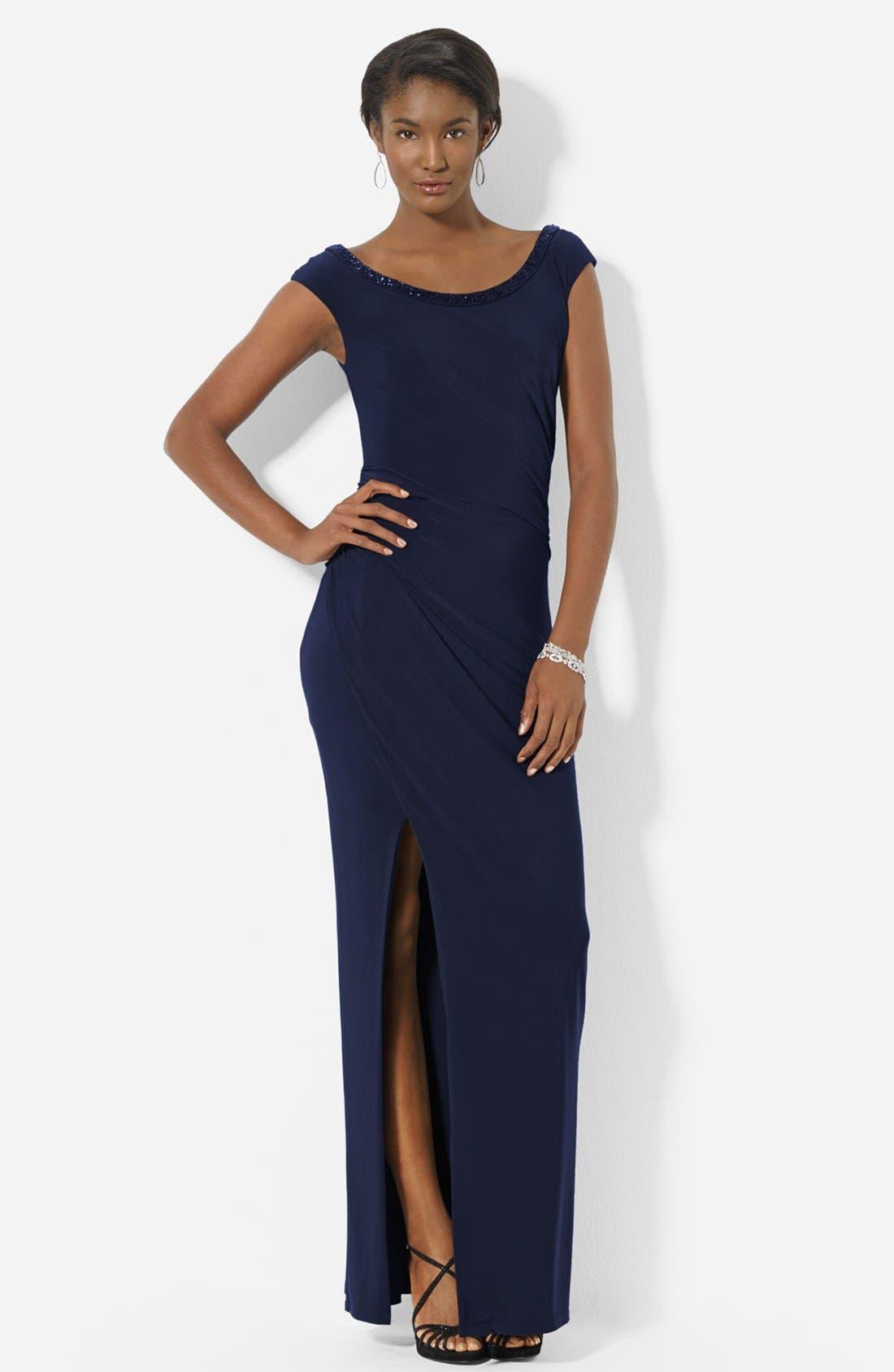 Main Image - Lauren Ralph Lauren Beaded Scoop Neck Matte Jersey Gown