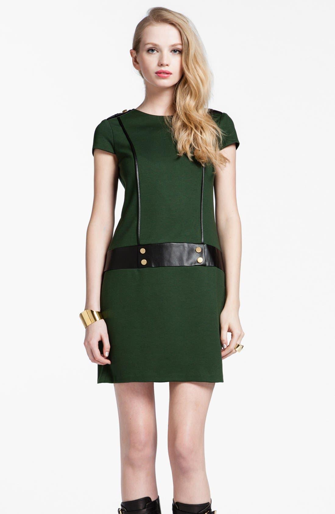 Main Image - Cynthia Steffe 'Perla' Faux Leather Trim Shift Dress
