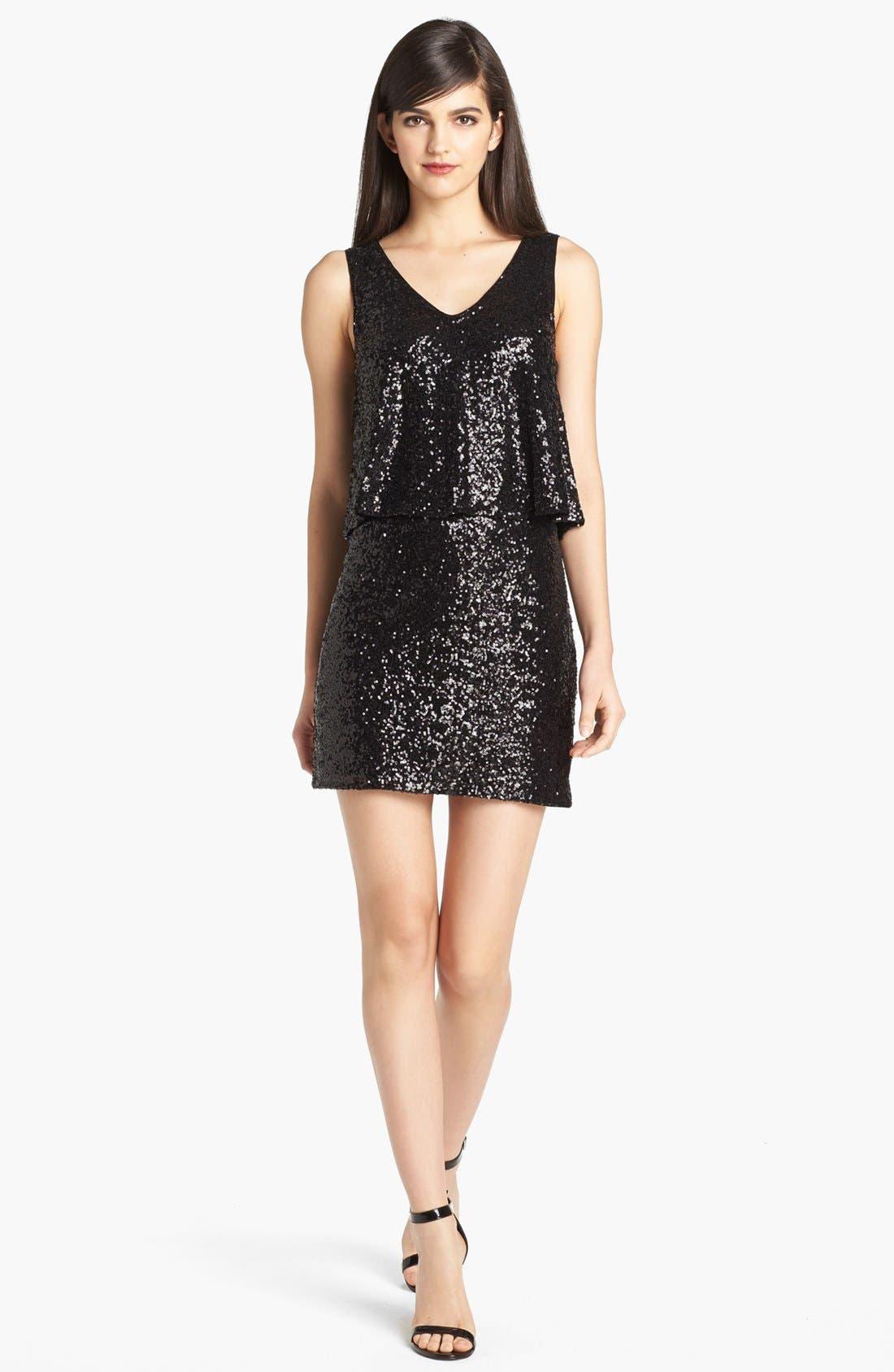 Draped Sequin Dress,                             Main thumbnail 1, color,                             Black