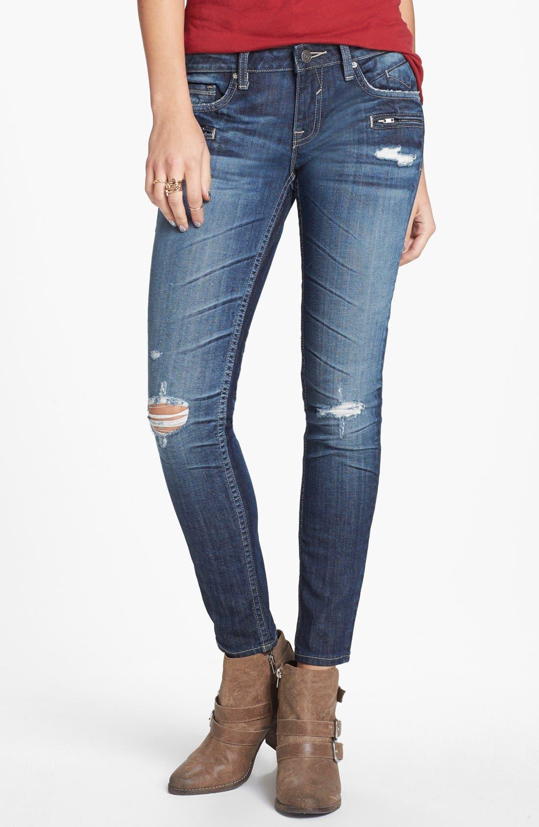 Main Image - Vigoss Deconstructed Skinny Jeans (Dark Wash) (Juniors) (Online Only)