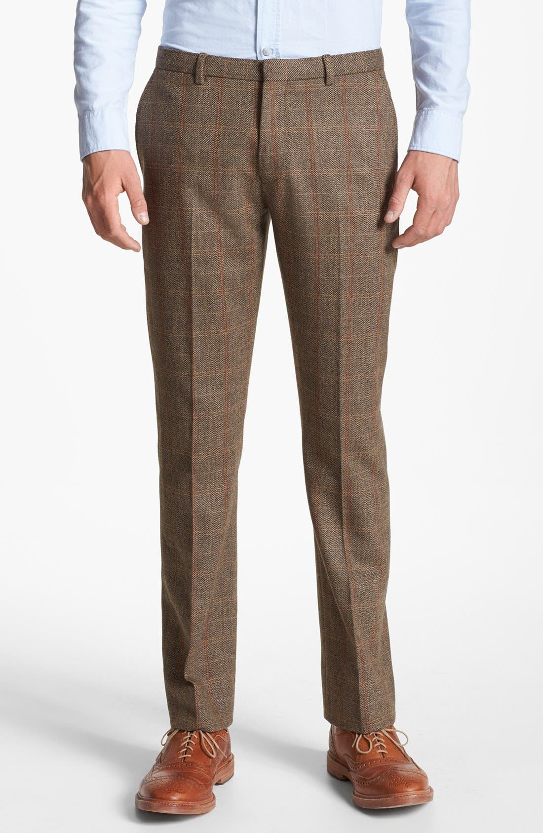 Alternate Image 1 Selected - Topman Slim Fit Check Tweed Trousers
