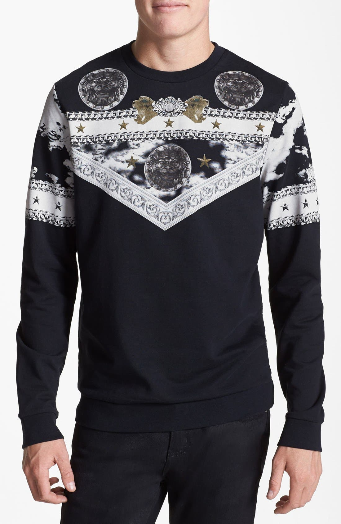 Alternate Image 1 Selected - Topman Baroque Print Crewneck Sweatshirt
