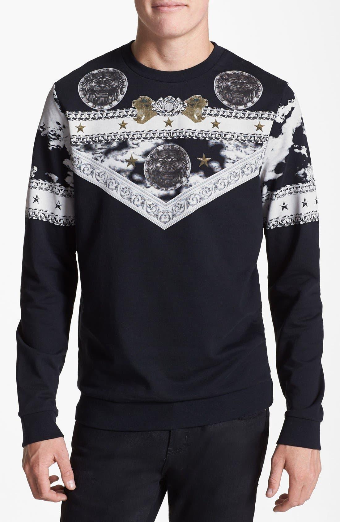 Main Image - Topman Baroque Print Crewneck Sweatshirt