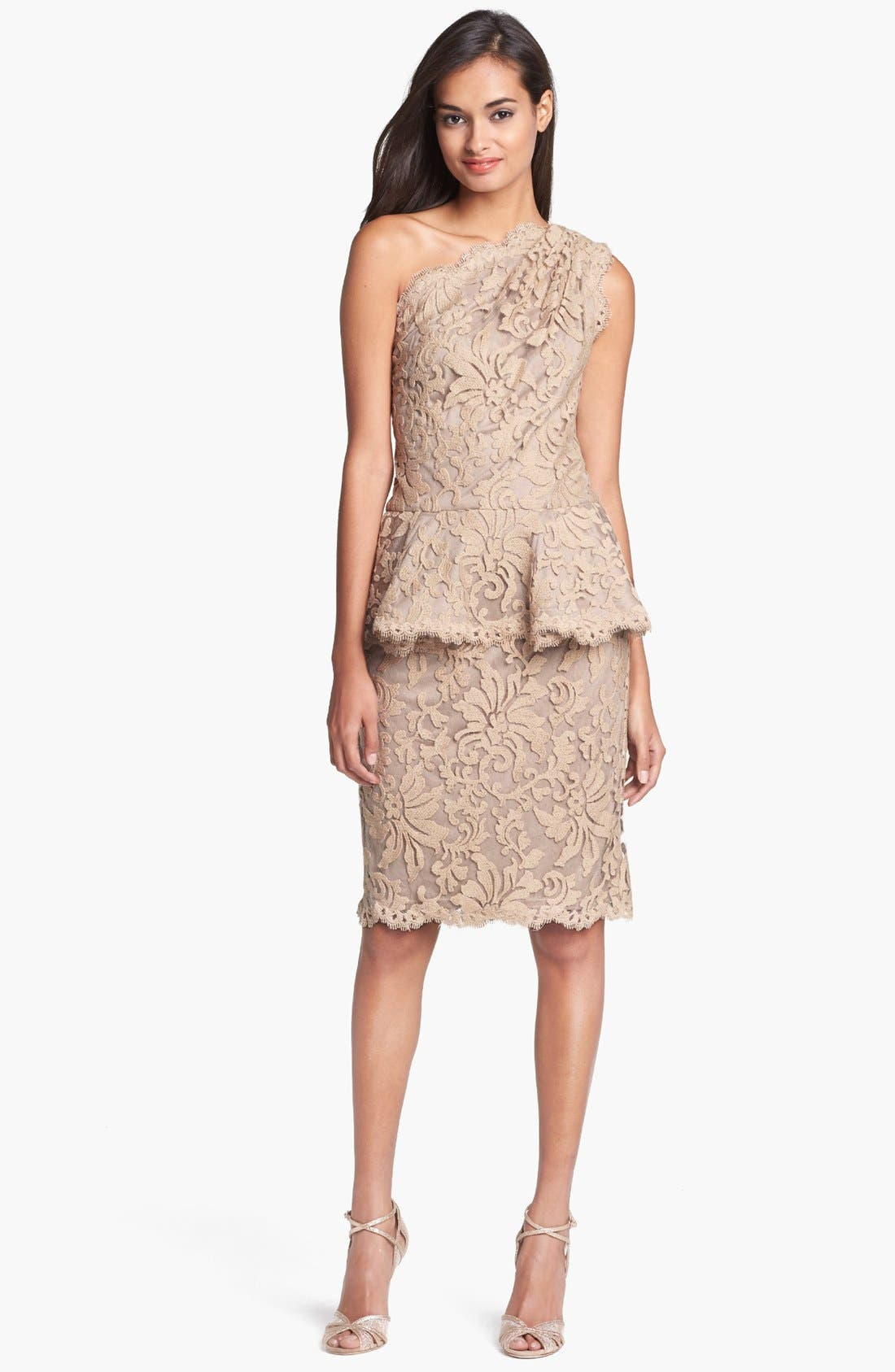 Alternate Image 1 Selected - Tadashi Shoji One Shoulder Lace Peplum Dress
