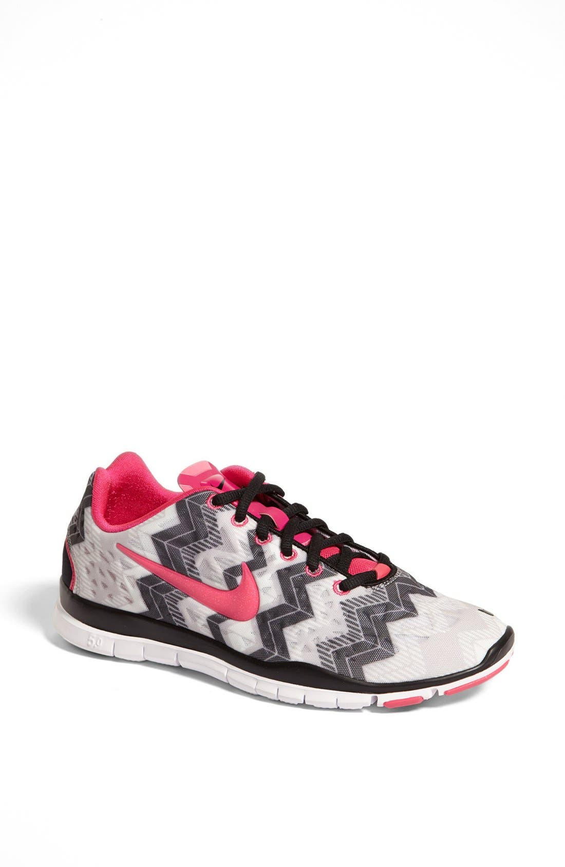 'Free TR Fit 3 Print' Training Shoe,                             Main thumbnail 1, color,                             Grey/ Black/ Pink Foil