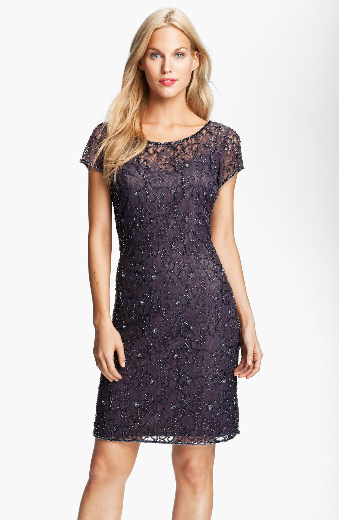 Main Image - Pisarro Nights Beaded Lace Sheath Dress