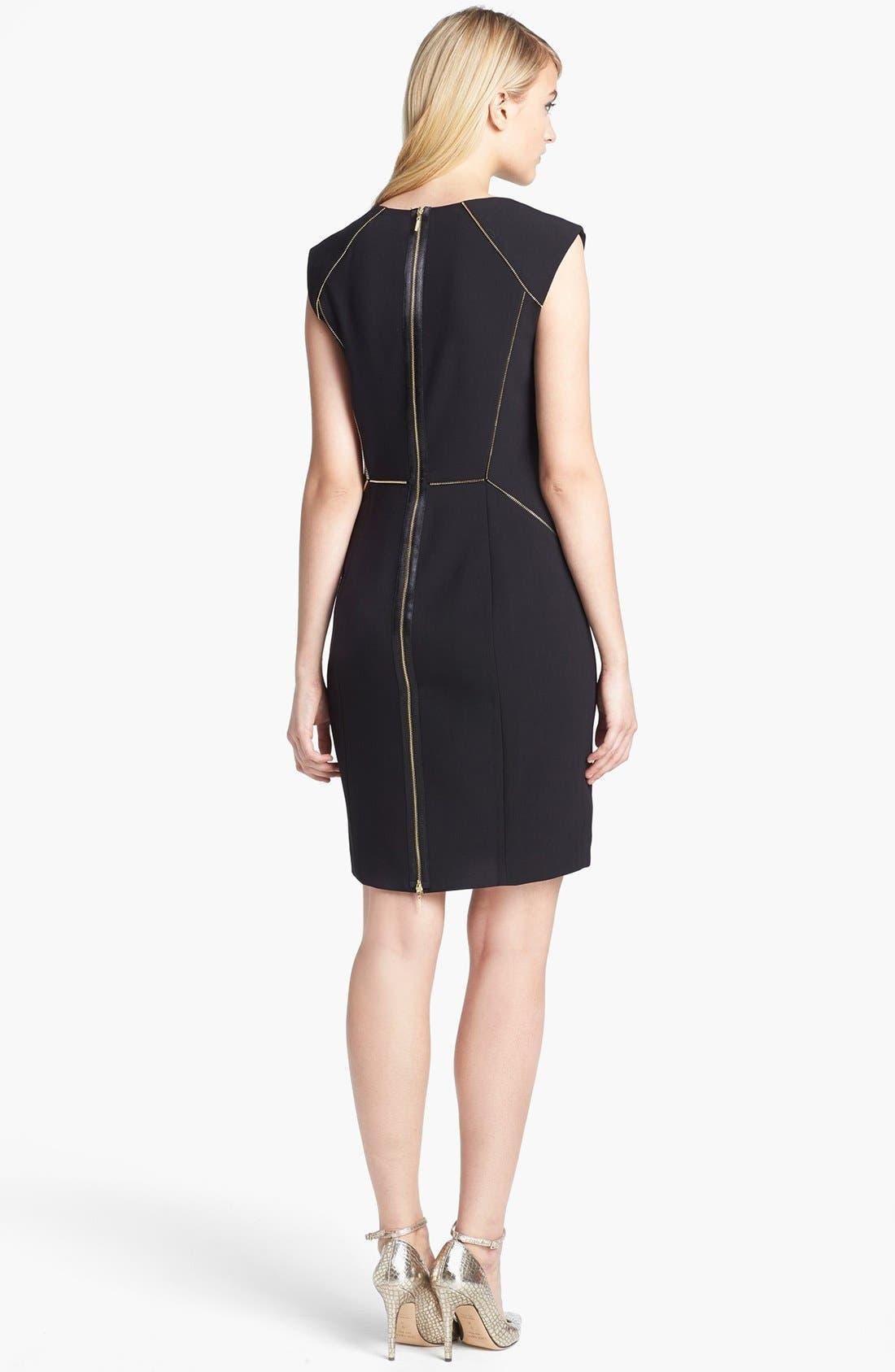Alternate Image 2  - Rebecca Taylor Zip Stretch Sheath Dress