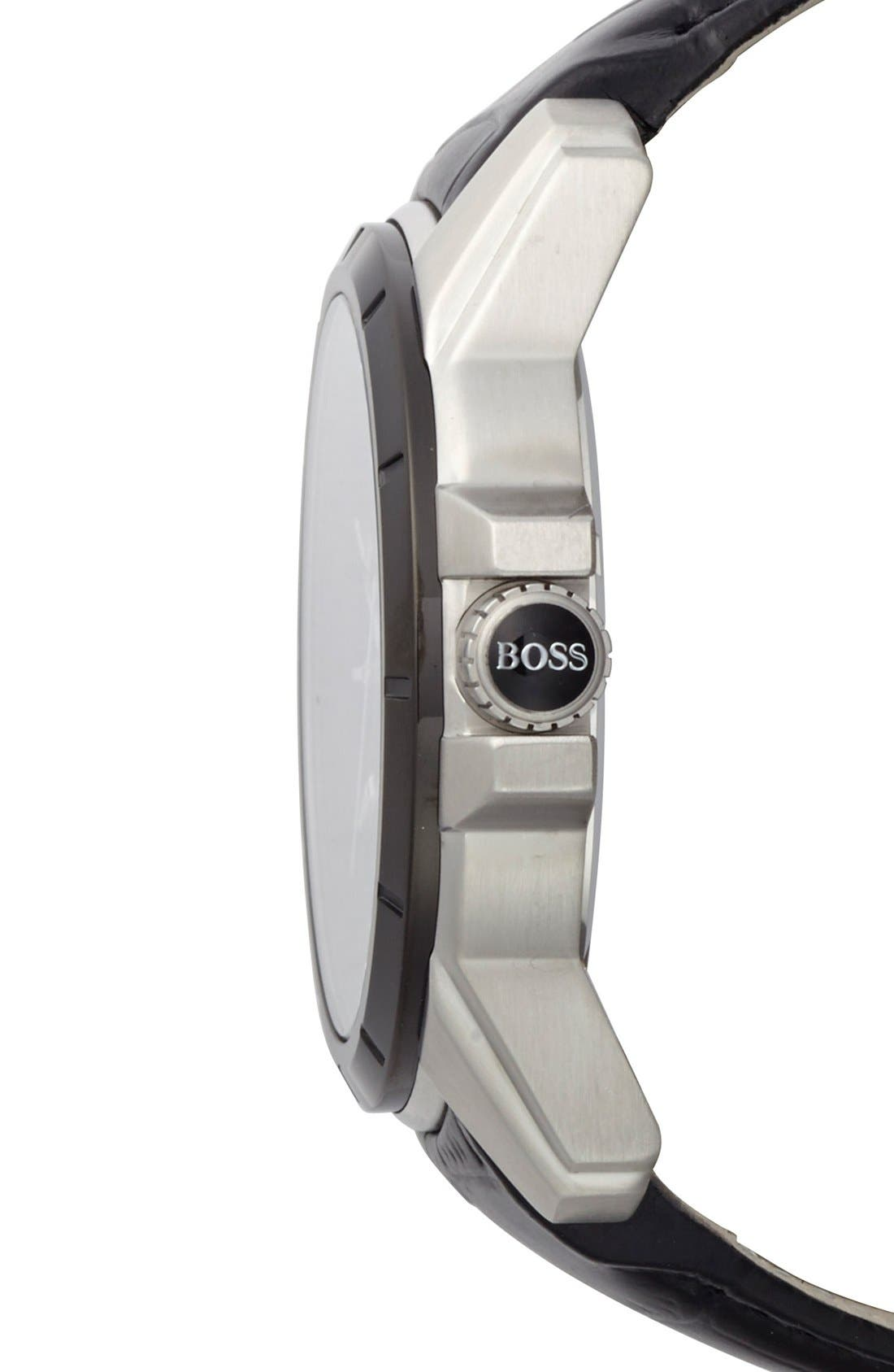 Alternate Image 3  - BOSS Round Leather Strap Watch, 46mm