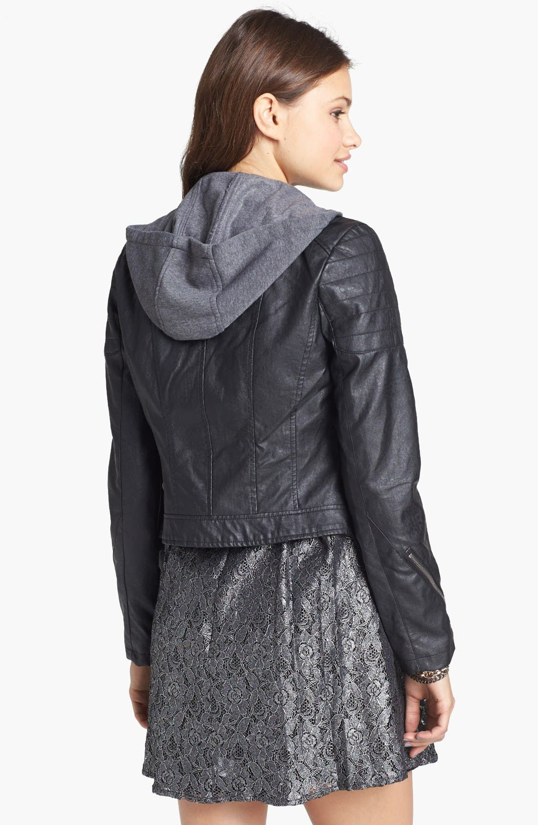Alternate Image 2  - Collection B Hooded Faux Leather Moto Jacket (Juniors)