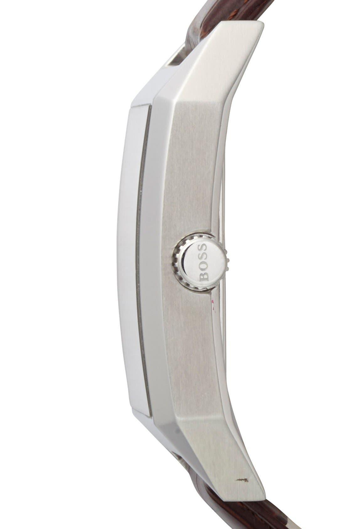 Alternate Image 2  - BOSS HUGO BOSS Rectangular Leather Strap Watch, 22mm x 33mm