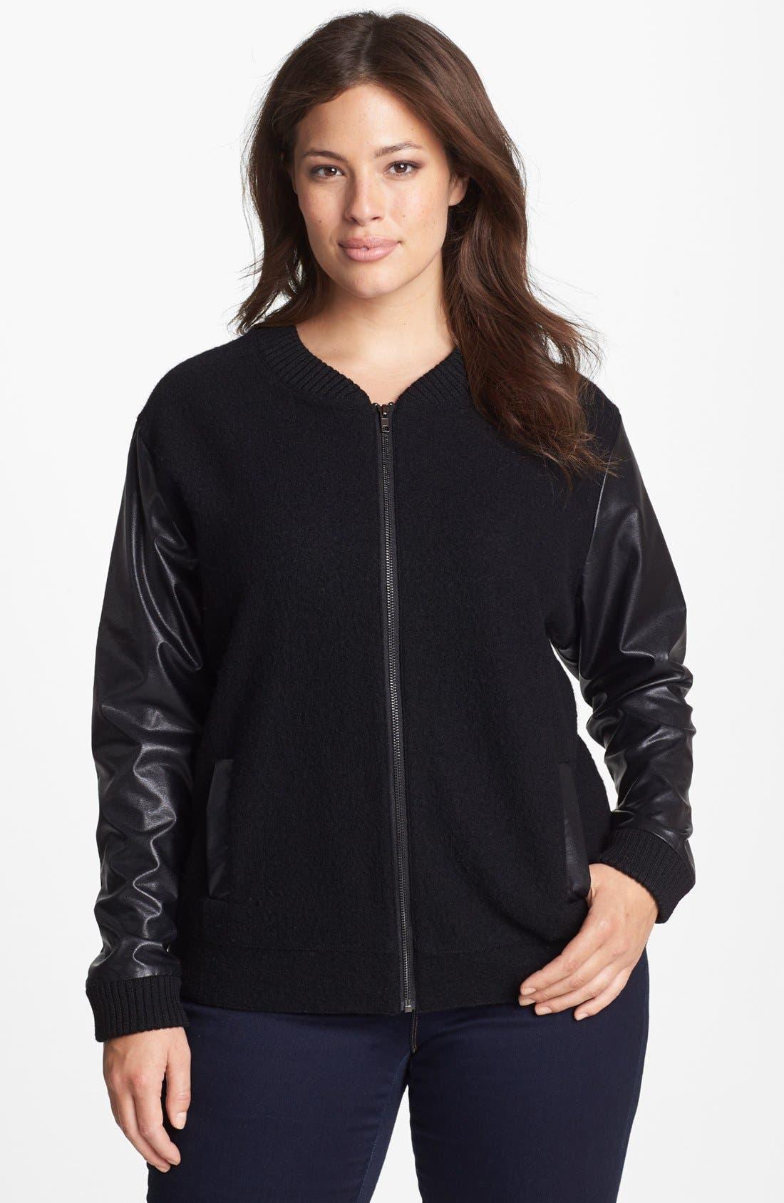 Alternate Image 1 Selected - Halogen® Wool & Faux Leather Jacket (Plus Size)