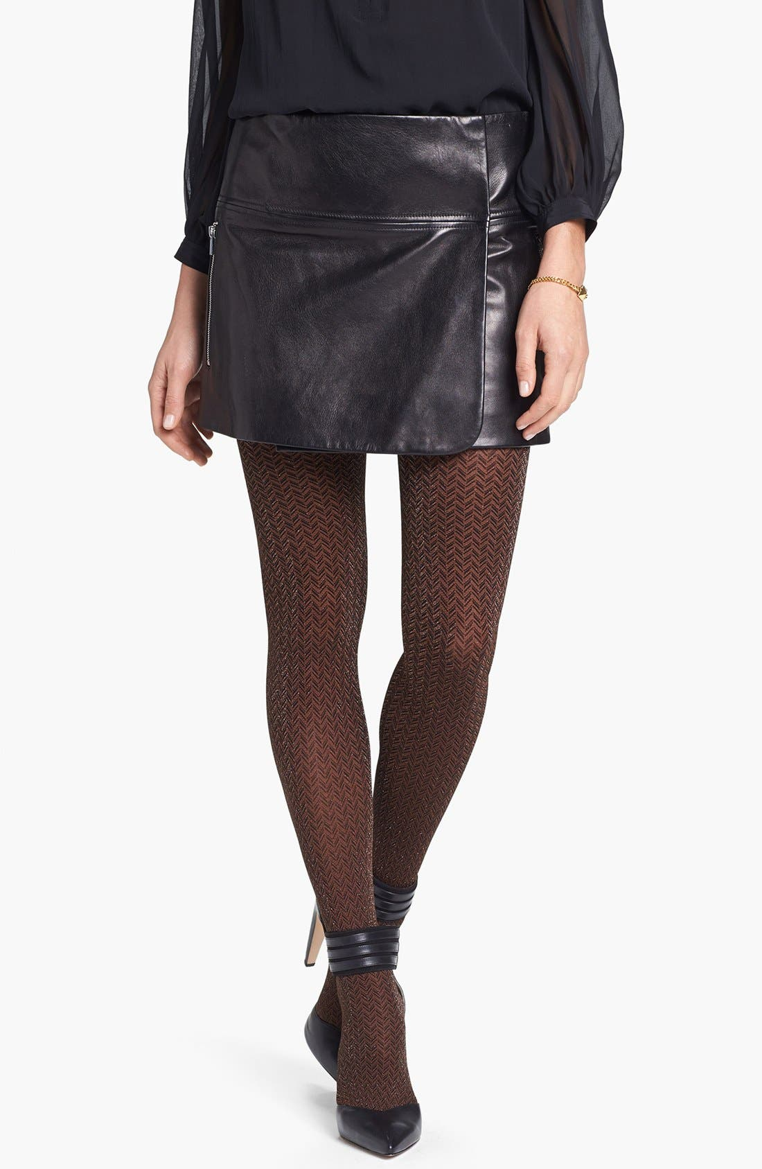 Alternate Image 1 Selected - Hue 'Shimmer Herringbone' Tights