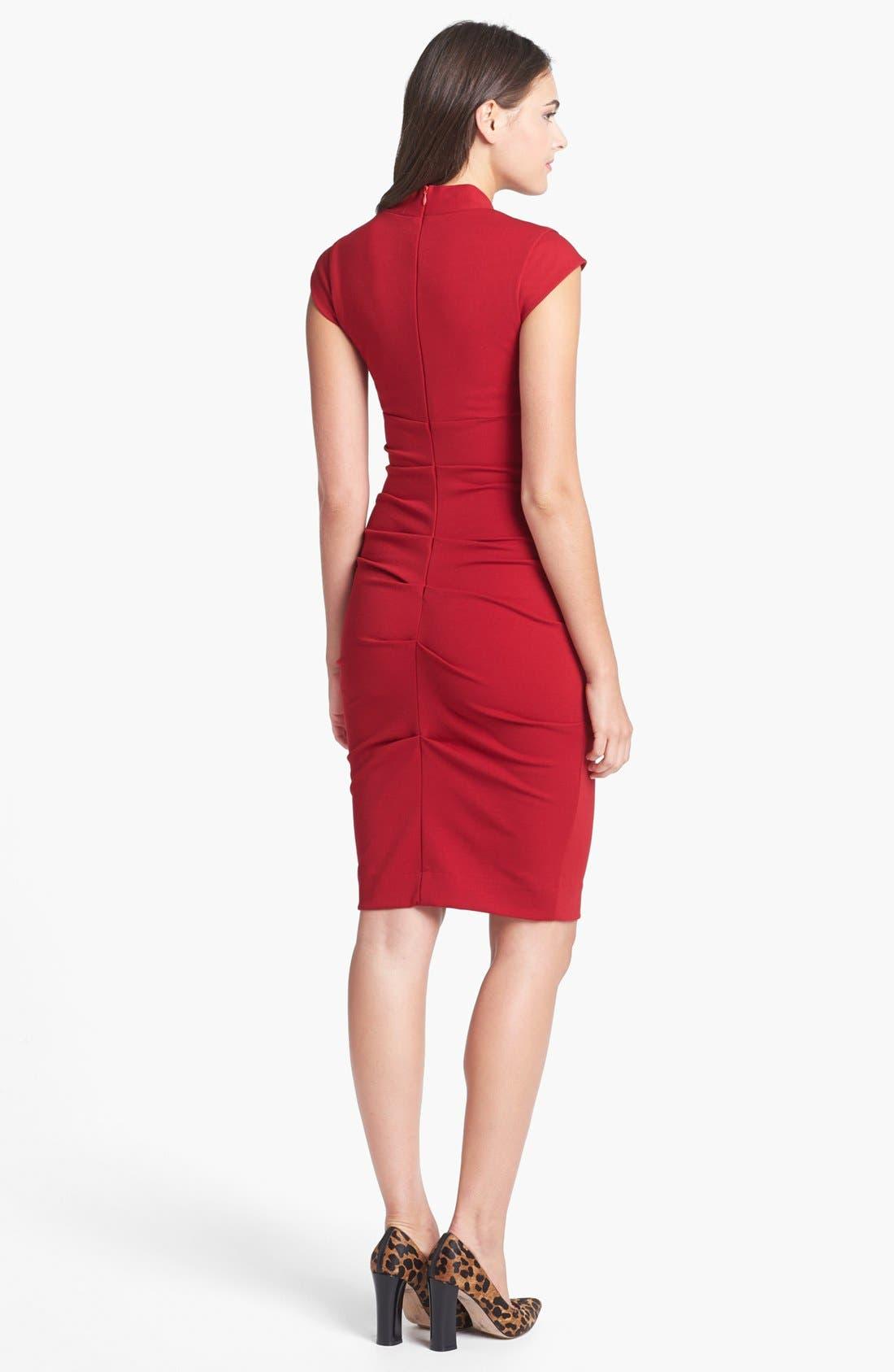 Alternate Image 2  - Nicole Miller Ruched Cap Sleeve Knit Sheath Dress
