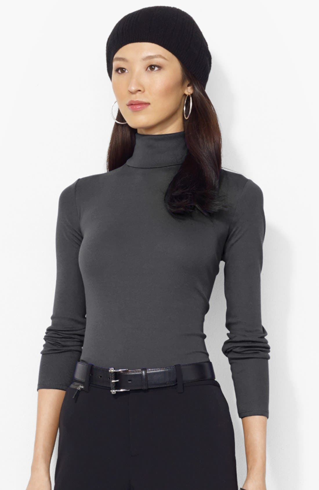 Main Image - Lauren Ralph Lauren Cotton Blend Turtleneck