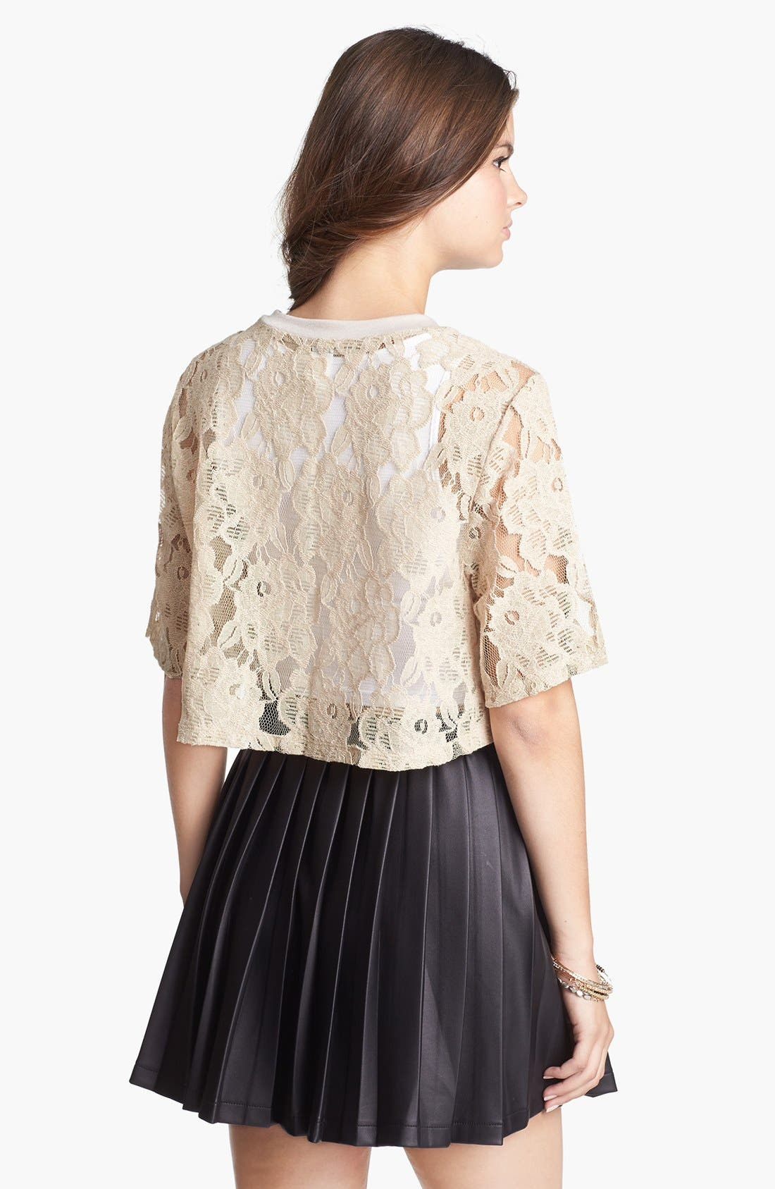 Alternate Image 2  - Lily White Lace Crop Top (Juniors) (Online Only)