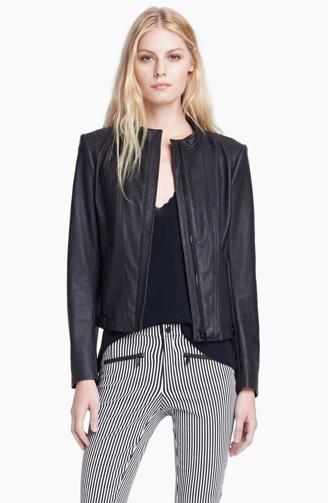 Main Image - Theyskens' Theory 'Jylan Netch' Stripe Leather Jacket