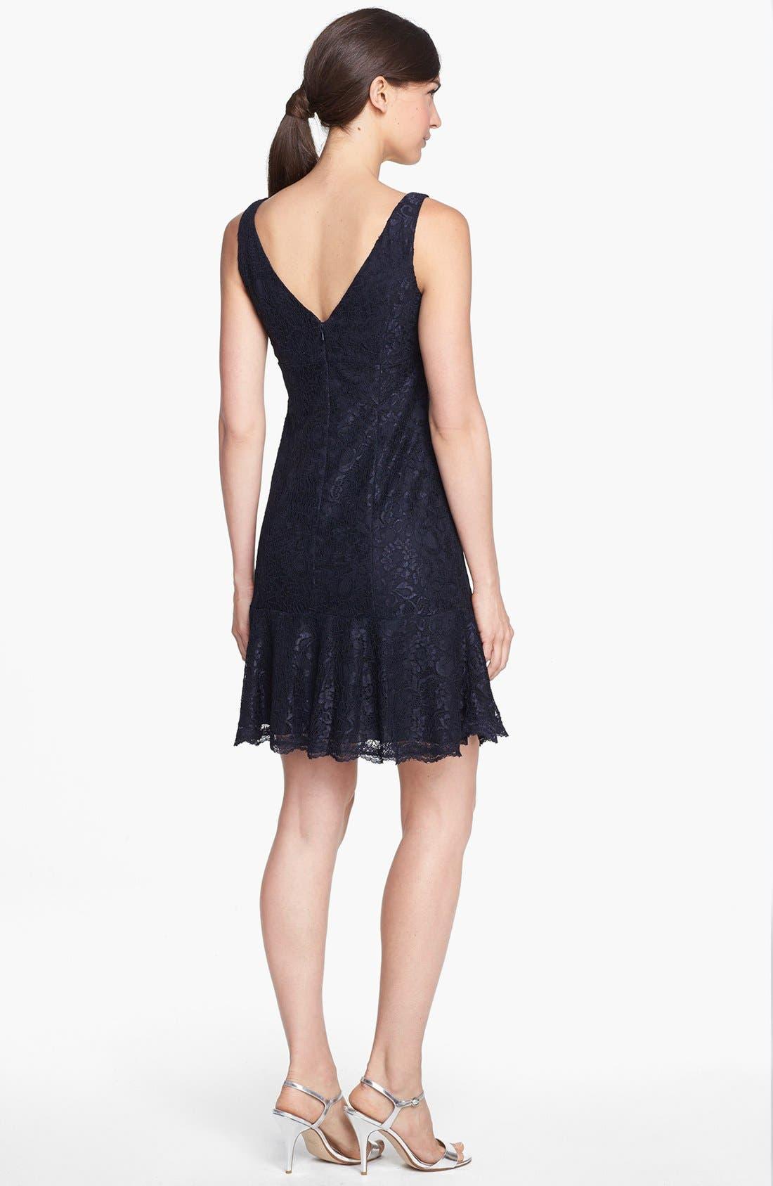 Alternate Image 2  - ML Monique Lhuillier Bridesmaids Ruffle Hem Lace Dress (Nordstrom Exclusive)