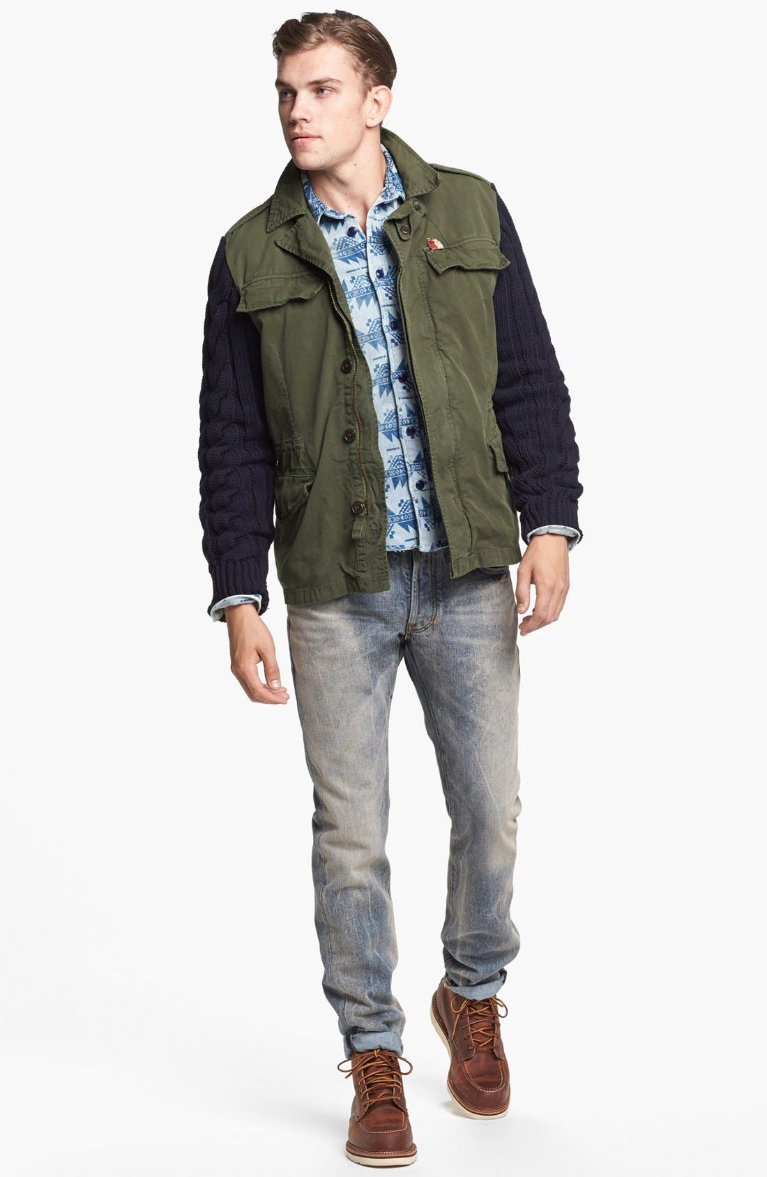 Alternate Image 4  - Scotch & Soda Military Jacket with Knit Sleeves