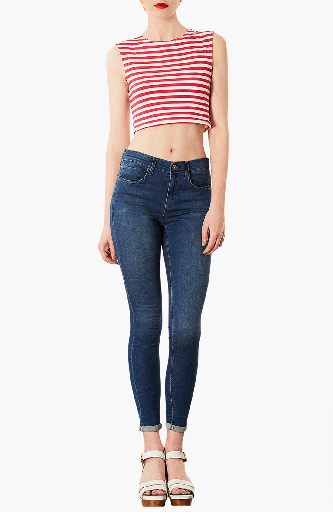 Alternate Image 3  - Topshop 'Leigh' Skinny Ankle Jeans (Mid Stone) (Petite)