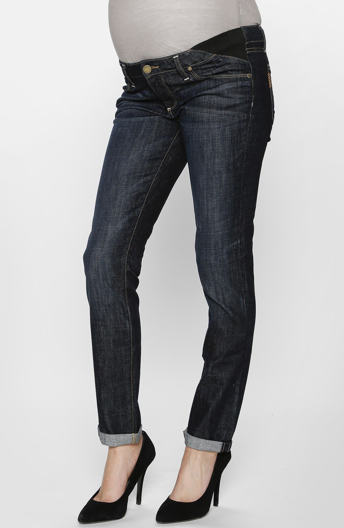 Main Image - Paige Denim 'Jimmy Jimmy' Skinny Boyfriend Maternity Jeans (Blue)