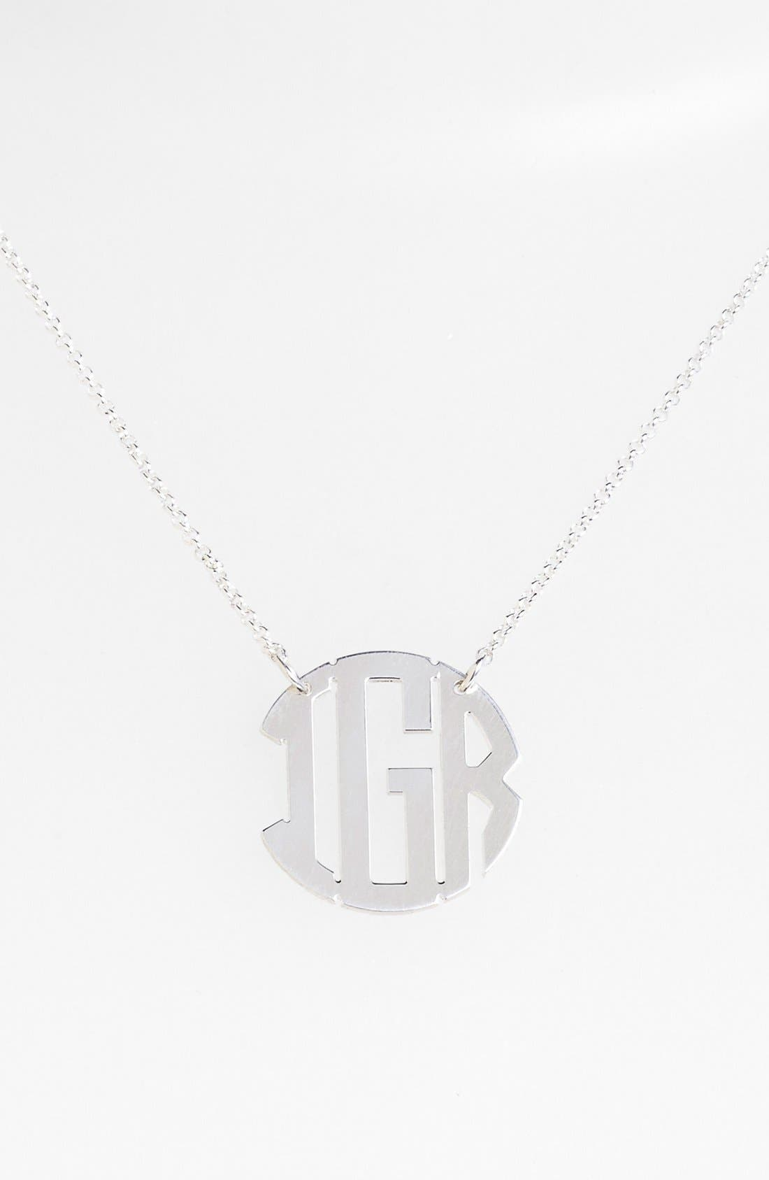 Personalized 3-Initial Block Monogram Necklace,                             Main thumbnail 1, color,                             Silver