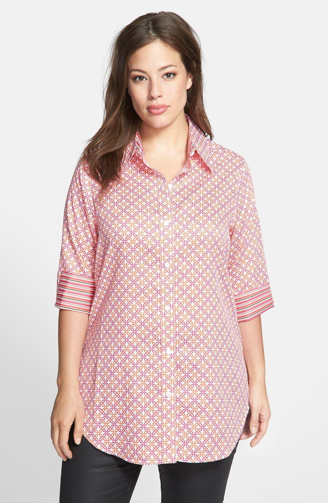 Main Image - Foxcroft Lattice Print Shirt (Plus Size)