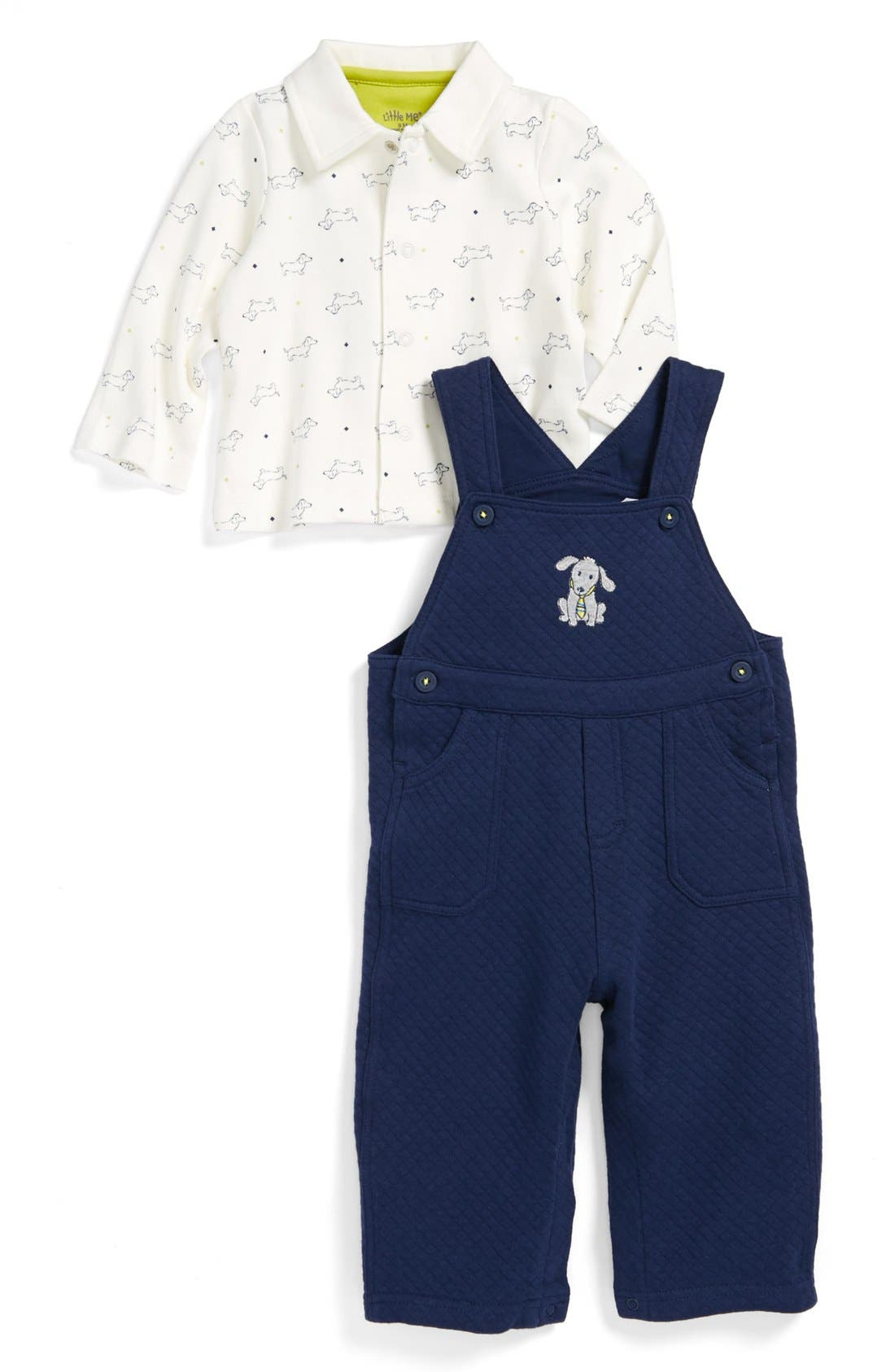 Alternate Image 1 Selected - Little Me 'Dashing Pups' Shirt & Overalls (Baby Boys)
