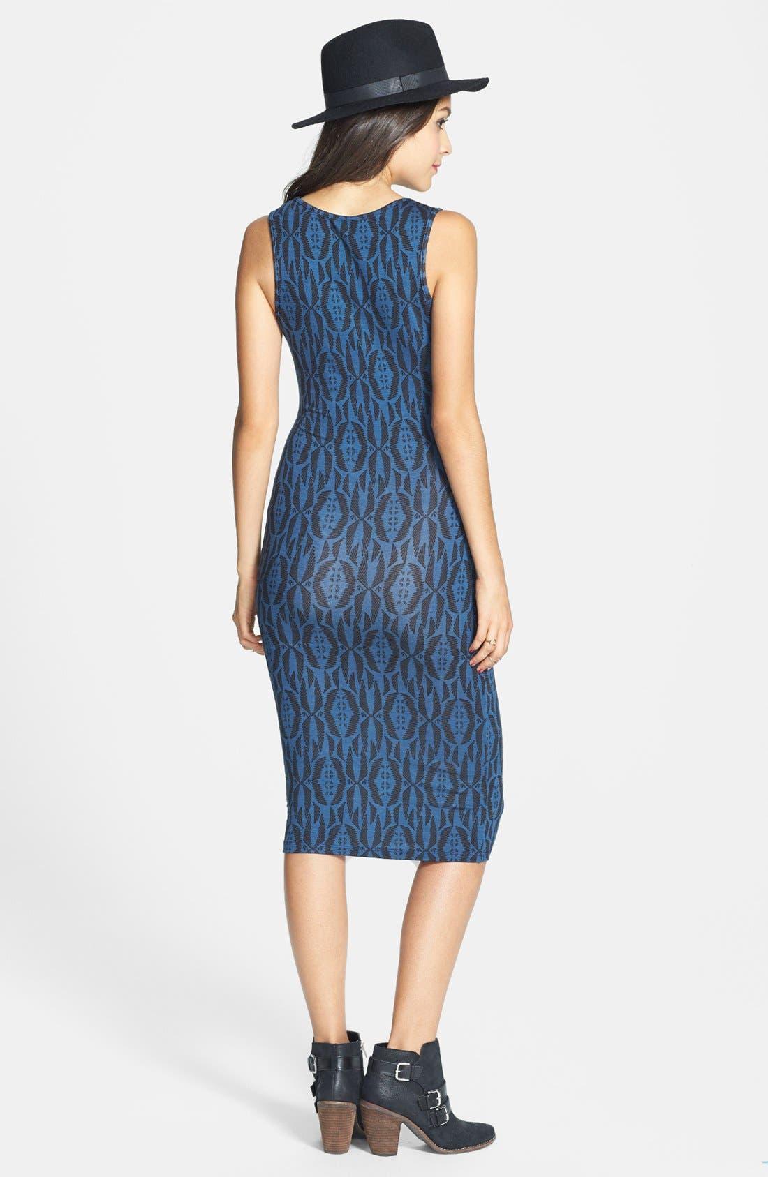 Alternate Image 2  - Lush Print Body-Con Midi Dress (Juniors)