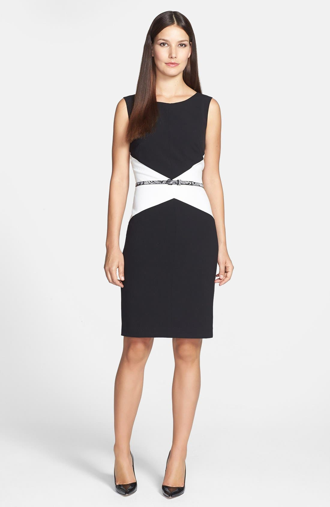 Alternate Image 1 Selected - Calvin Klein Belted Colorblock Sheath Dress