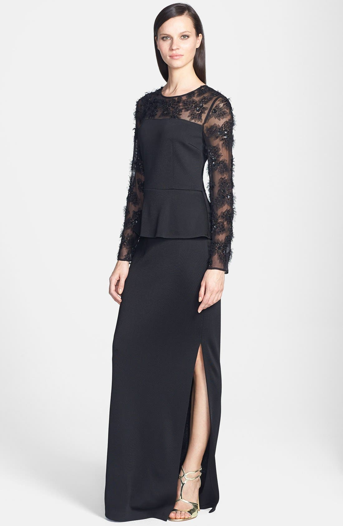 Main Image - St. John Collection Tulle Trim Sateen Milano Knit Peplum Gown