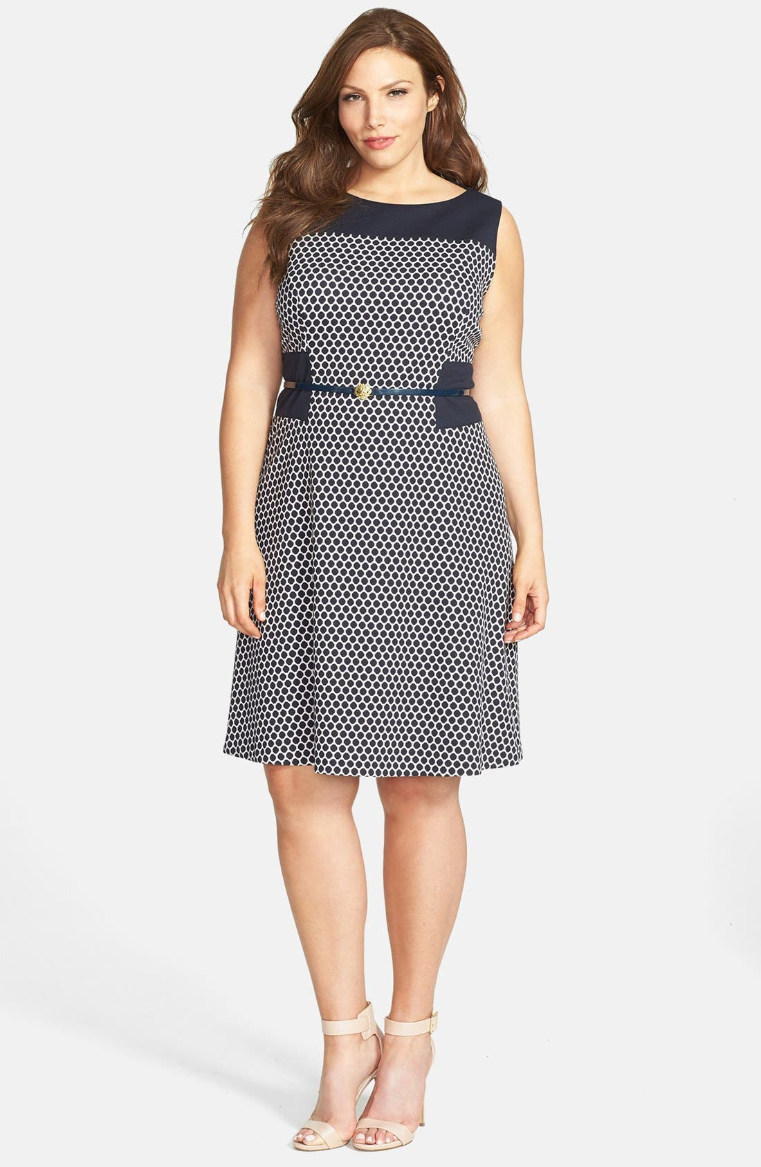 Main Image - Anne Klein Pattern Ponte Fit & Flare Dress (Plus Size)