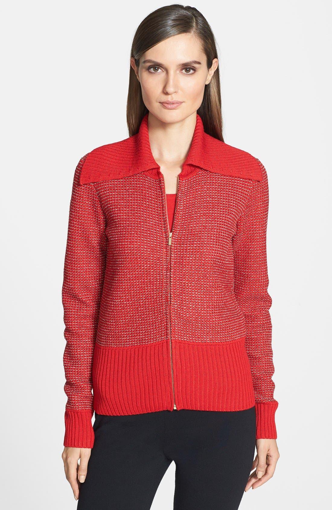 Main Image - St. John Yellow Label Rib Collar Novelty Knit Bomber Jacket