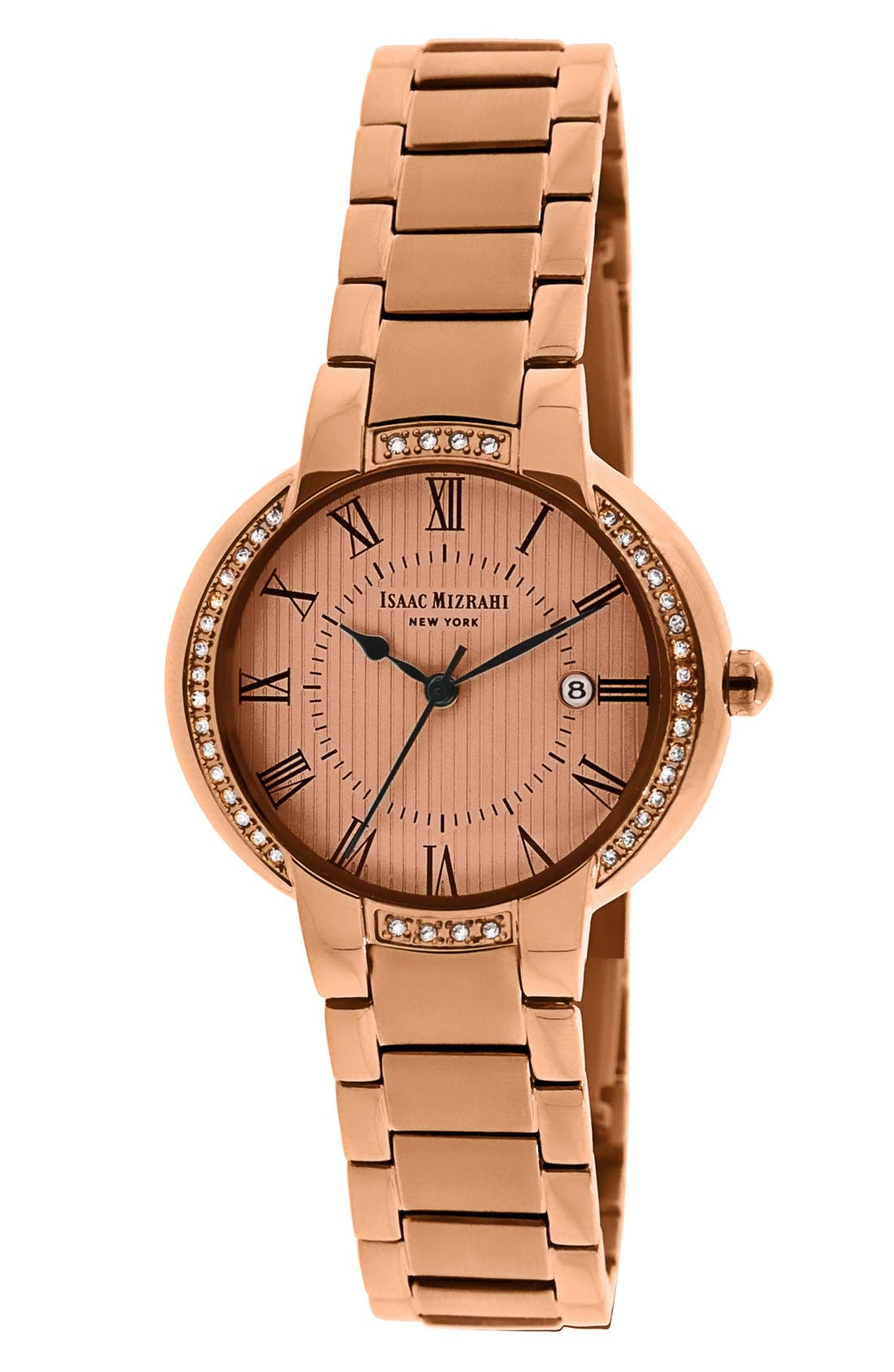 Alternate Image 1 Selected - Isaac Mizrahi New York Crystal Bezel Bracelet Watch, 30mm