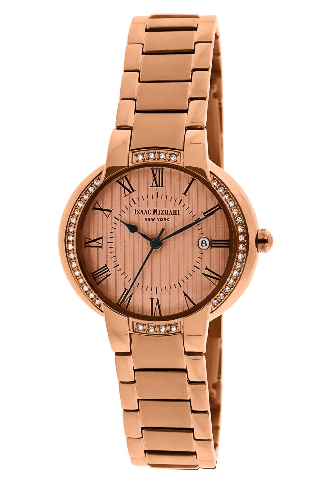 Main Image - Isaac Mizrahi New York Crystal Bezel Bracelet Watch, 30mm