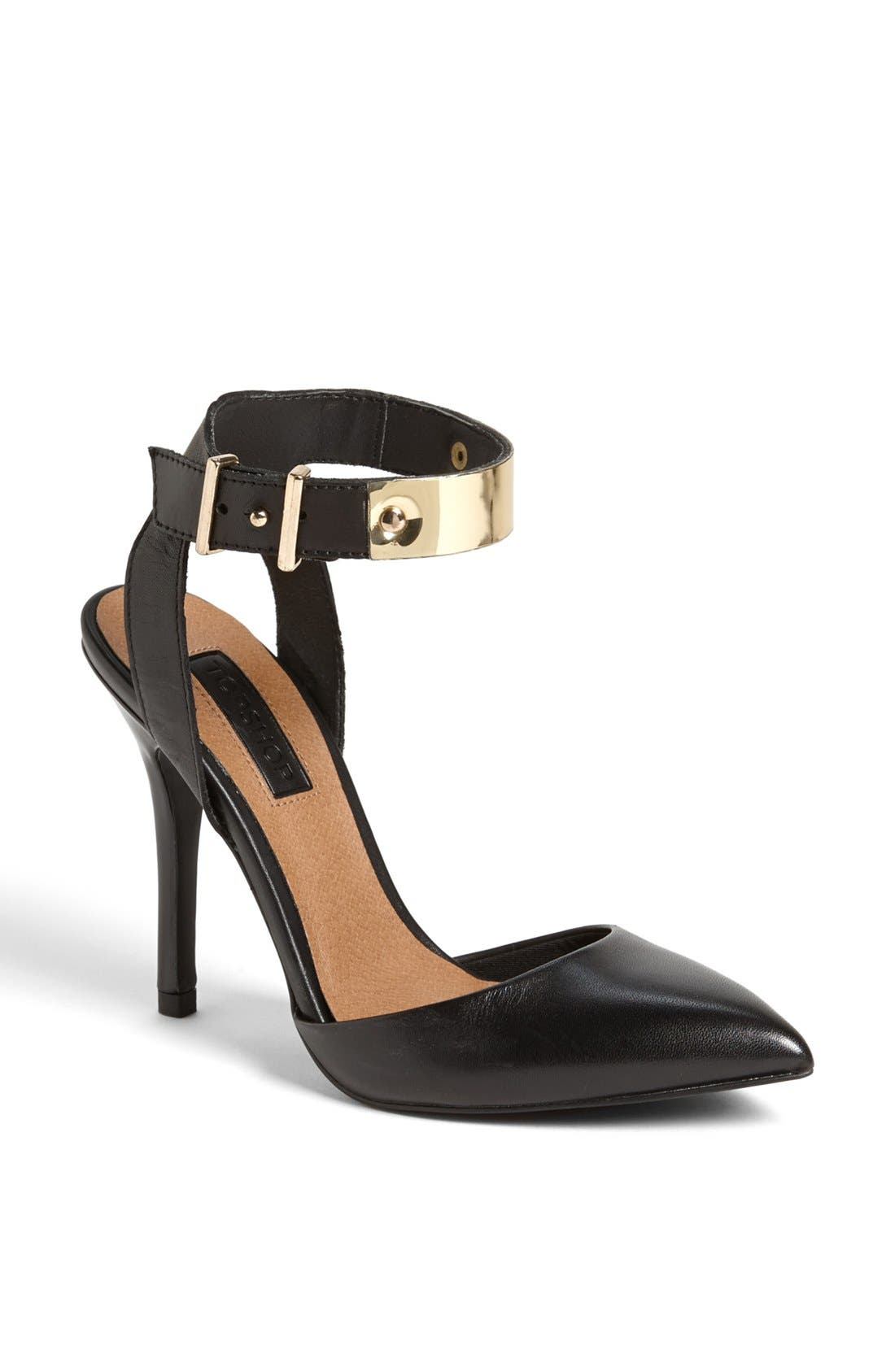 Main Image - Topshop Goldtone Bar Ankle Strap Pump