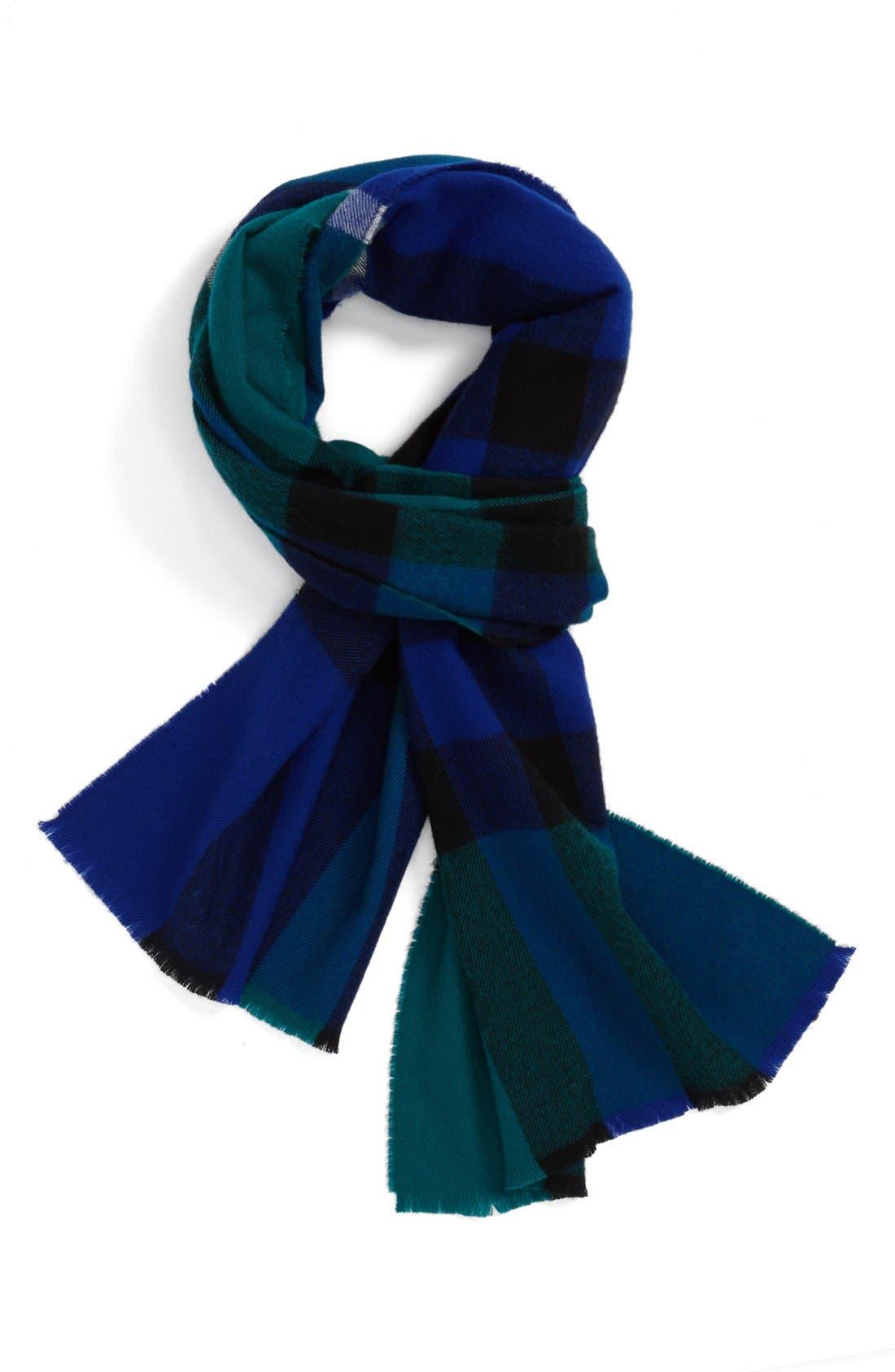 Check Merino Wool Scarf,                         Main,                         color, Sapphire Blue Check