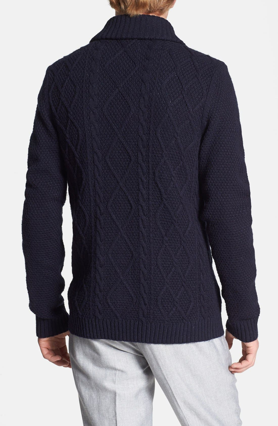 Alternate Image 2  - Topman Cable Knit Shawl Cardigan