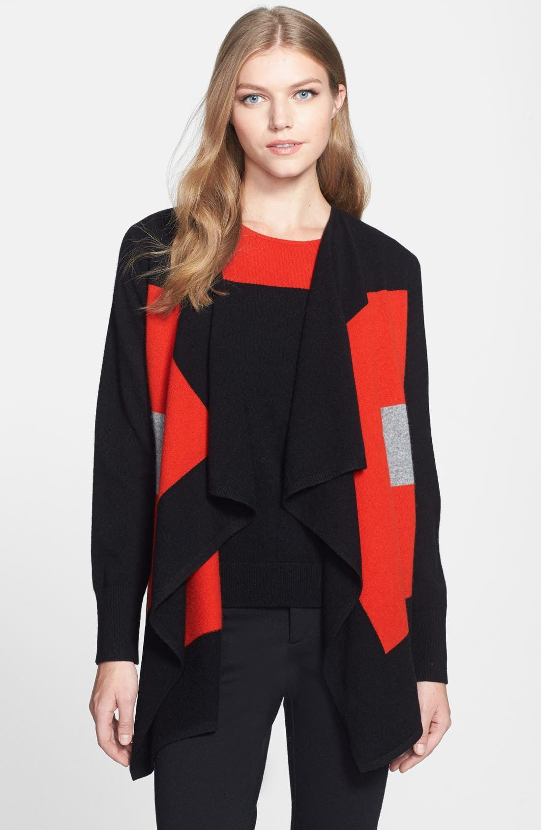 Alternate Image 1 Selected - Nordstrom Collection Colorblock Cashmere Cascade Cardigan