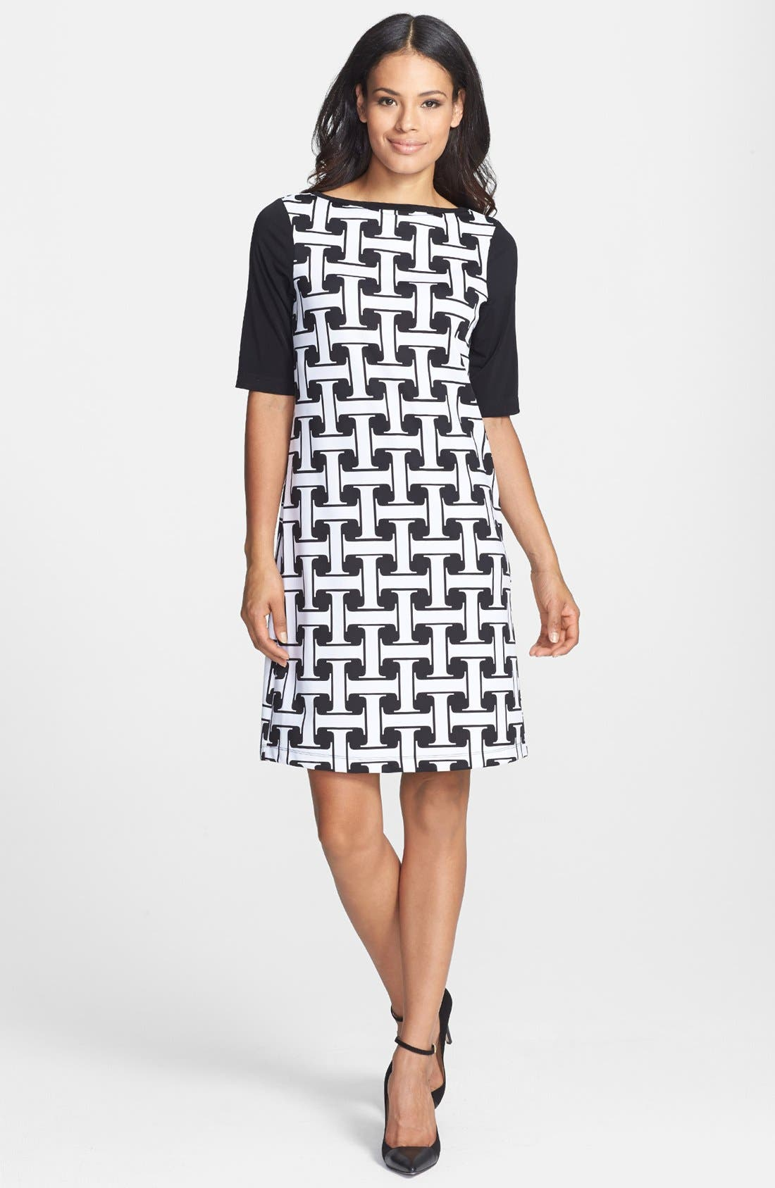 Alternate Image 2  - Isaac Mizrahi New York Print Stretch Jersey Shift Dress