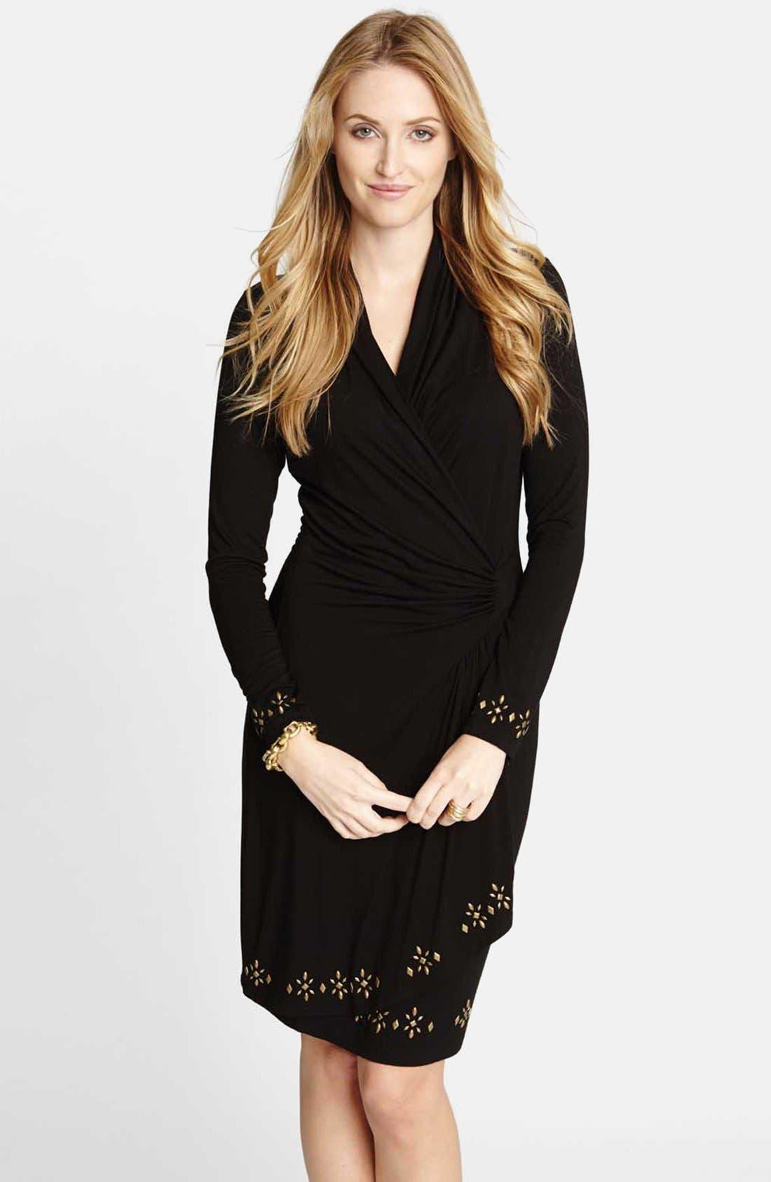 Main Image - Karen Kane 'Royal Flush' Cascade Faux Wrap Dress