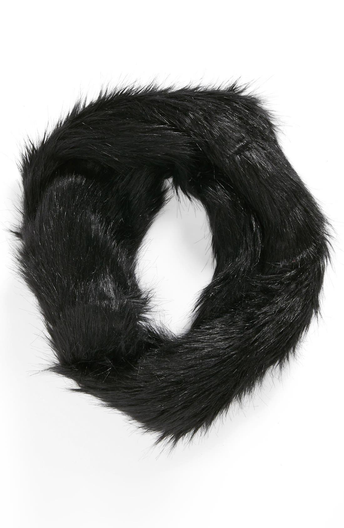 Faux Fur Infinity Scarf,                             Main thumbnail 1, color,                             Black