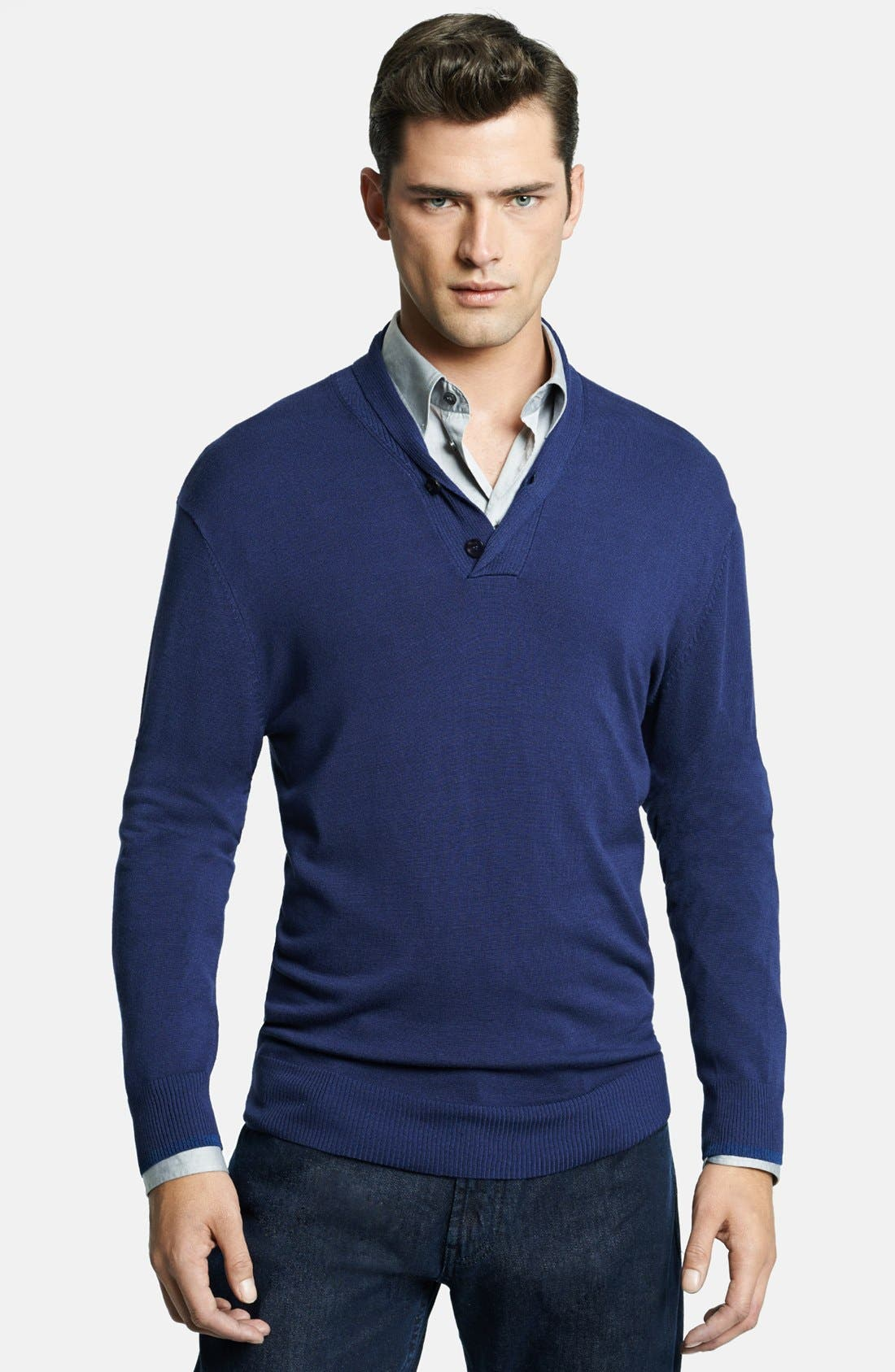 Armani Collezioni Shawl Collar Sweater,                         Main,                         color, Solid Dark Blue