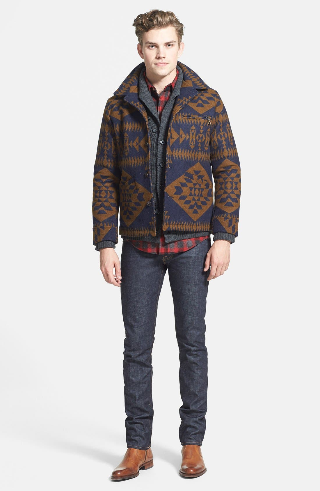 Alternate Image 2  - Pendleton Jacket, 7 Diamonds Sweater, Pendleton Fitted Flannel Shirt & J Brand Skinny Fit Jeans