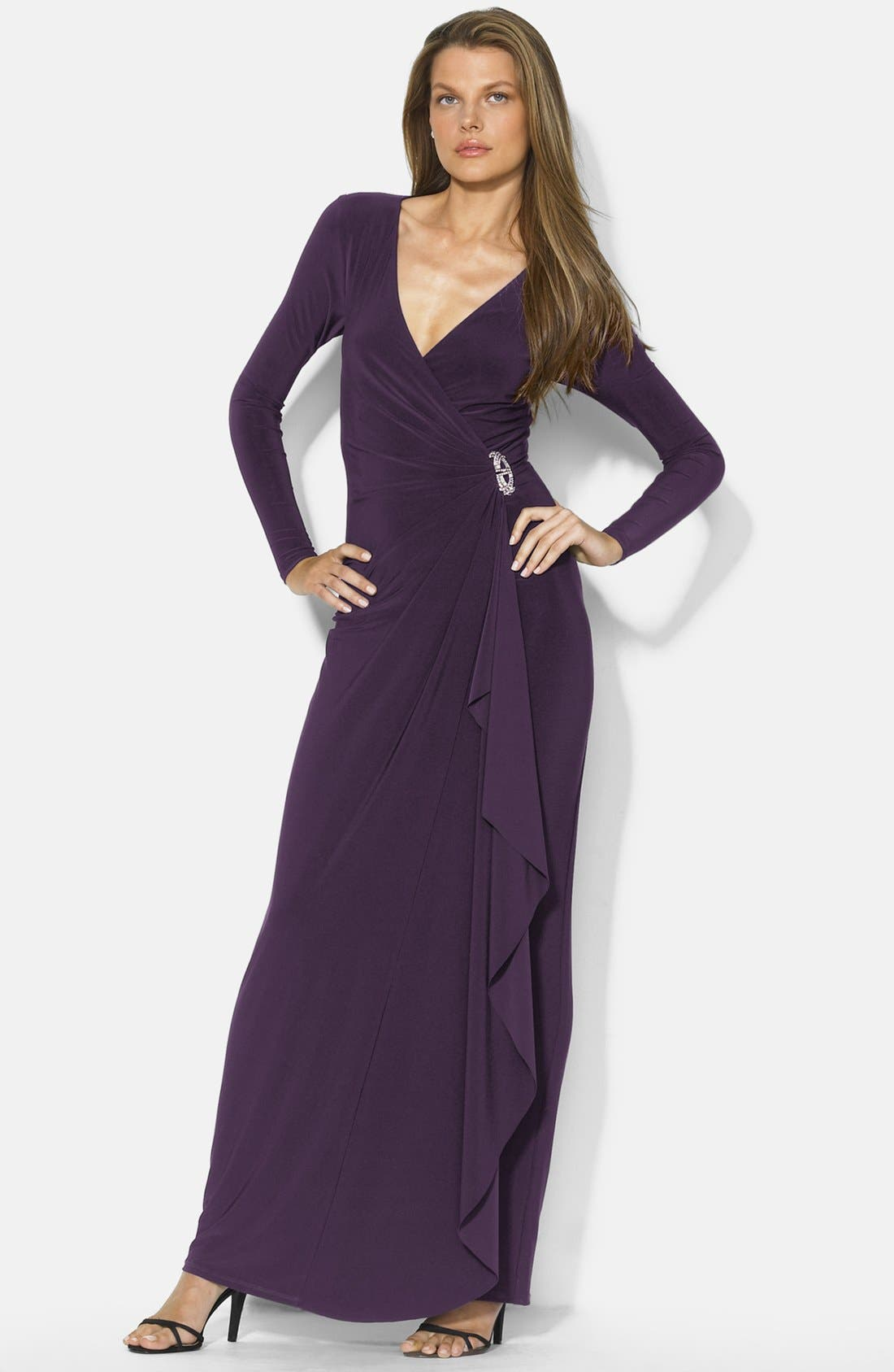 Alternate Image 1 Selected - Lauren Ralph Lauren Long Faux Wrap Matte Jersey Dress (Regular & Petite)